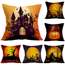 Halloween Ghost Castle Black Cat Pillowcases Seat Sofa Pillow Cover Linen Cotton Square Green Cushion for Home Decoration