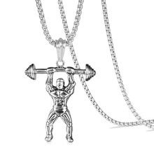 Muscleman Barbell Pendant Necklace Men Stainless Steel Thick 70cm Long Chain Cool Hip Hop Jewelry Collar De Hombres stainless steel barbell pendant necklace for men