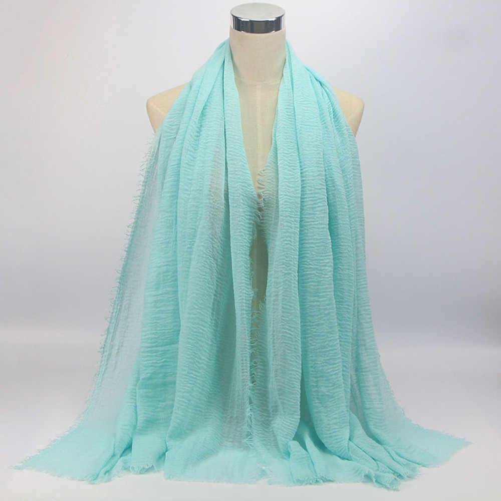 Sleeper # P501 2019 nueva moda de alta calidad de viscosa Maxi arruga nube bufanda chal suave Islam musulmán Wrap Schal invierno Cachecol sólido