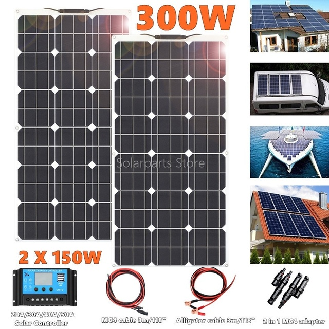 300W 2*150W Flexible  Solar Panel  20amp Charge controller No inverter