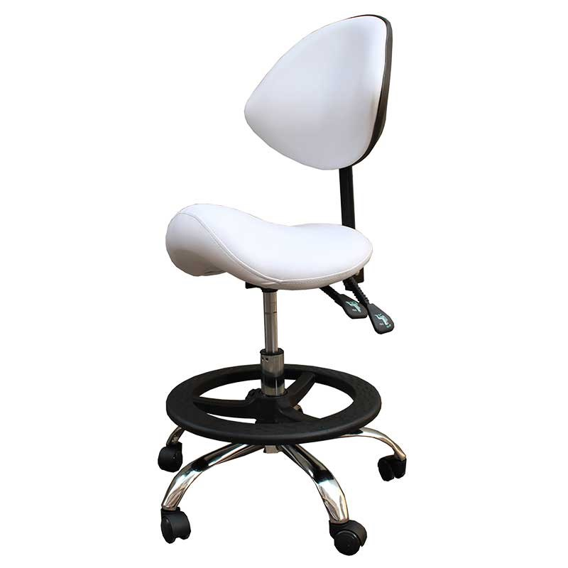 M8 Modern Message Saddle Chair With Footrest&Swivel Adjustable Leather Chair Medical Spa Drafting Stool With Back Home/Office