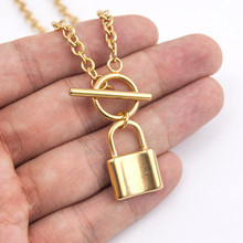 Luokey Link Chain PadLock Pendant Necklace For Women Men Gold Silver Color Rock Punk Lock Necklaces Gothic Hip Hop Jewelry Gifts 2020 fashion hip hop chain necklace for women jewelry gifts letters and lock pendant necklace accessories