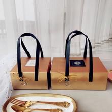 10 шт./лот высокий профиль Подарочная коробка золотые бумажные коробки Nougat печенье сумки Свадебные шоколадный торт упаковка вечерние принадлежности