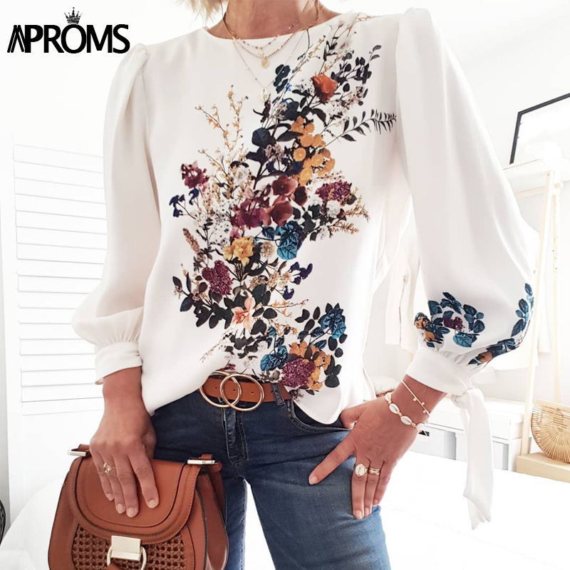 Aproms Elegant Puff Sleeve Bow Tie Shirt Sweet Floral Print O-neck Women Blouse Ladies Chic Autumn Winter Christmas Tops 2019