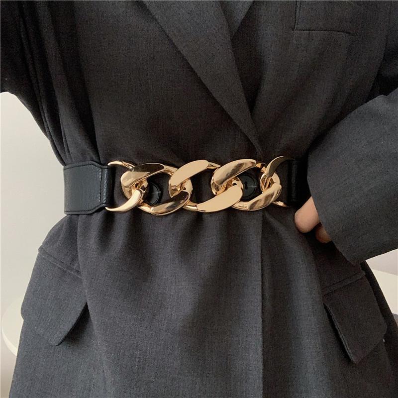Gold chain belt elastic silver metal waist belts for women ceiture femme stretch cummerbunds ladies coat ketting riem waistband