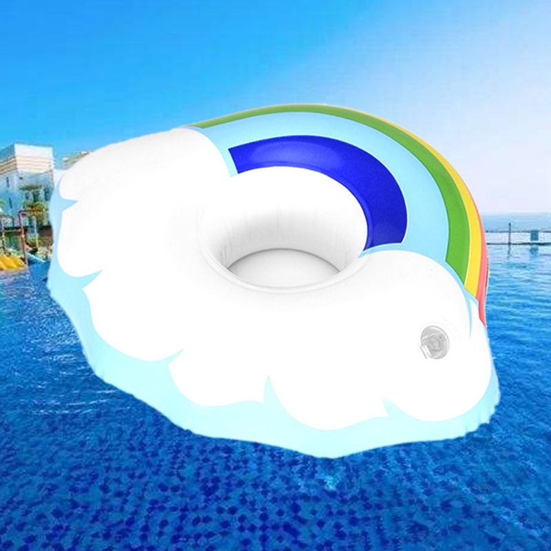 Inflatable Water Floating Drink Cup Holder Rainbow Cloud Phone Seat Beach Swimming Floating Coaster