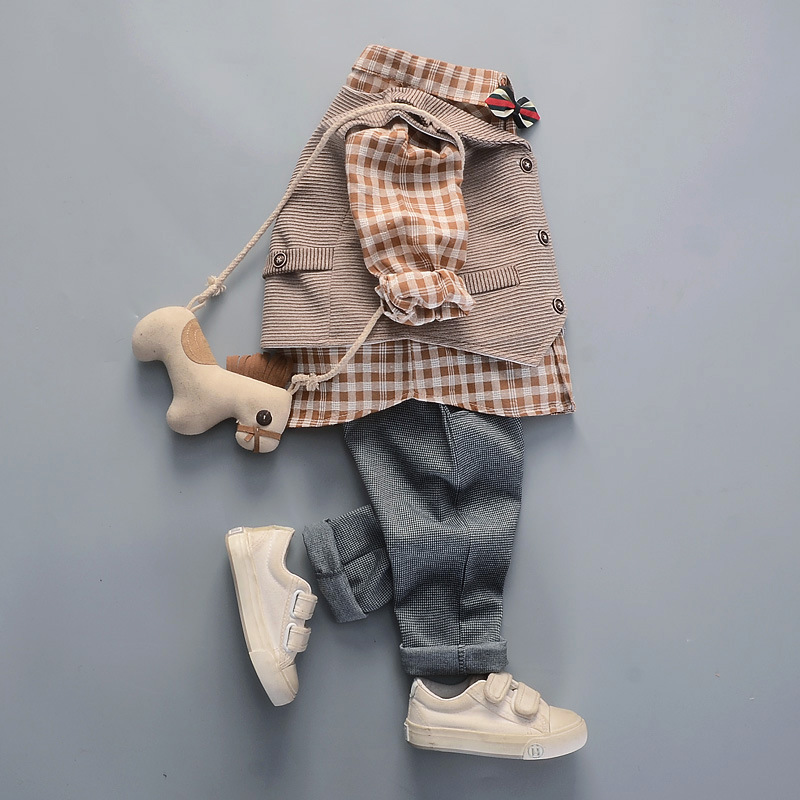 2019 New Style Autumn Clothing Small CHILDREN'S Cotton Linen Shirt Suit 2 Men And Treasure Birthday One-year-old Baby Suit 1-3 M