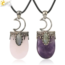 CSJA Natural Stone Crystal Pendants Necklace Antique Silver Color Purple Pink Quartz Necklace Jewelry Crown Moon Charm Gift G274