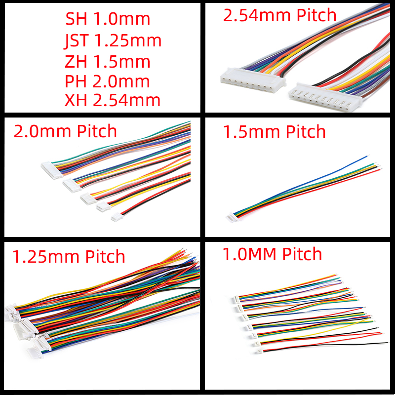 10PCS 1.0 1.25 1.5 2.0 2.54 SH/JST/ZH/PH/XH 1.0MM 1.25MM 1.5MM 2.0MM 2.54MM female plug connector with wire 2PIN /3/4/5/6/7/10P