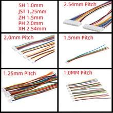 10 pces 1.0 1.25 1.5 2.0 2.54 sh/jst/zh/ph/xh 1.0mm 1.25mm 1.5mm 2.0mm 2.54mm conector fêmea da tomada com fio 2pin/3/4/5/6/7/10p