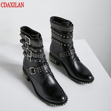 CDAXILAN new arrival women's short boots genuine cow leather rivet belt buckle Hook&Loop lace-up Motorcycle boots Mid-calf boots prova perfetto fashion genuine leather zipper side motorcycle boots rivet stud belt buckle round toe thick bottom short boots