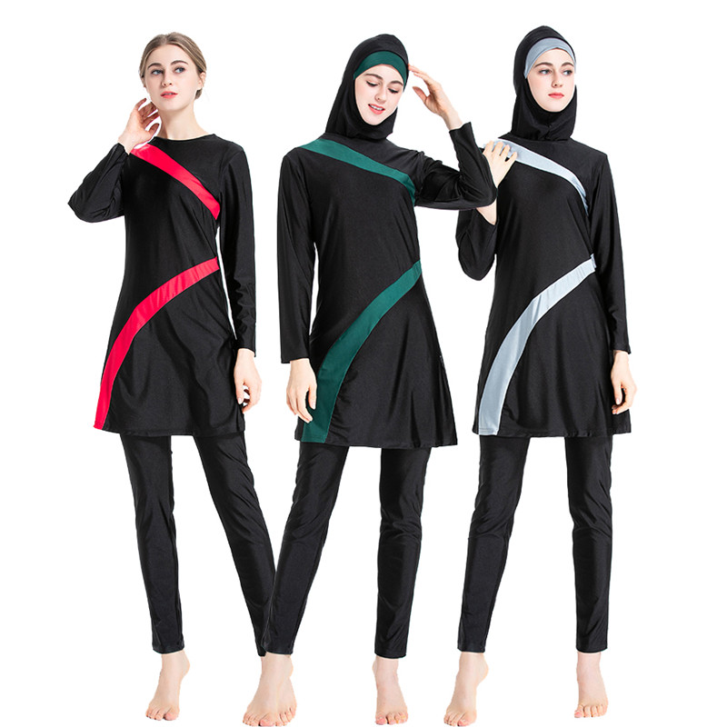 Muslimah Swimsuit 2020 New Burkini Long Sleeve Swim Beach Surf Wear Sport Burkinis Islamic Swimwear Patchwork Color Muslim 6XL