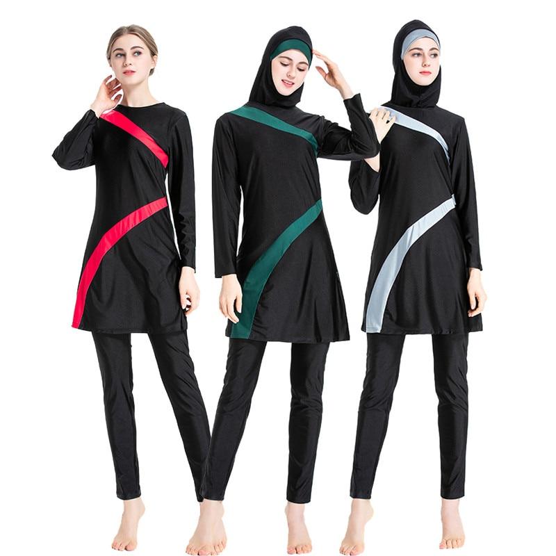 Muslimah Swimsuit 2020 New Burkini Long Sleeve Swim Beach Surf Wear Sport Burkinis Islamic Swimwear Patchwork Color Muslim 6XL