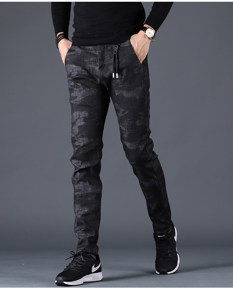 Free shipping new fashion men's male casual Original camouflage jeans men plus velvet autumn stitching pants Slim Korean C3129 91