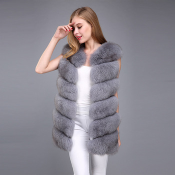 womens vest real fur slim-line high-quality natural fox jacket