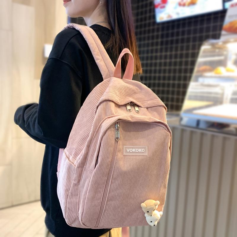 Stripe Cute Corduroy Woman Backpack Schoolbag For Teenage Girls Boys Luxury Harajuku Female Fashion Bag Student Lady Book Pack