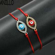 ANILLO Women Red Rope Thread String Evil Eye Bracelet Lucky Braided Cubic Zirconia Bracelet Adjustable Charms Jewelry(China)