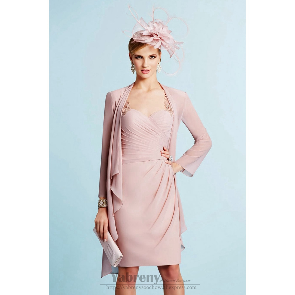 2PC Light Pink Mother Of The Bride Chiffon Dress With Jacket