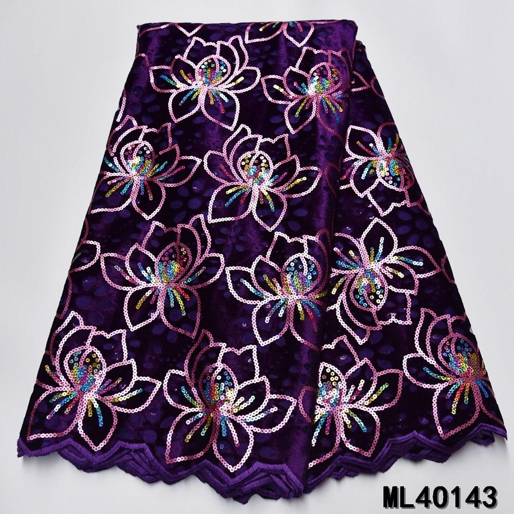 BEAUTIFICAL african lace fabrics purple organza lace fabric 2020 New embroidery sequins organza lace fabric 5yards ML4O143