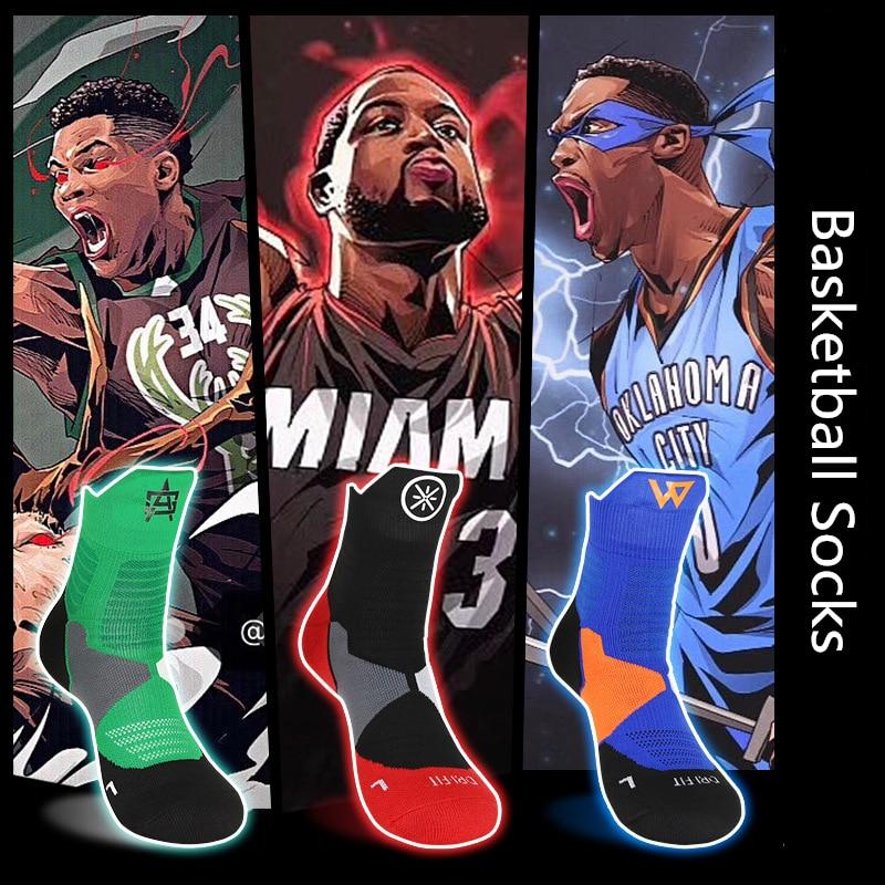 NBA Star Same Paragraph Basketball Socks Men Training Socks Sweat-Absorbent Anti-Slip Socks Street Fashion Star Logo Sports Sock