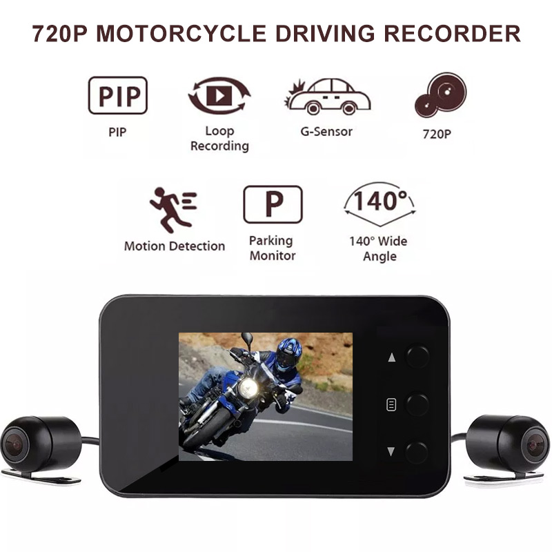Rear Camera Reverse Camera Rear View Camera Stable Motorcycle Camera 720P Wide Angle Dash Cam Dvr Waterproof Dual Recorder For Motorcycle Driving