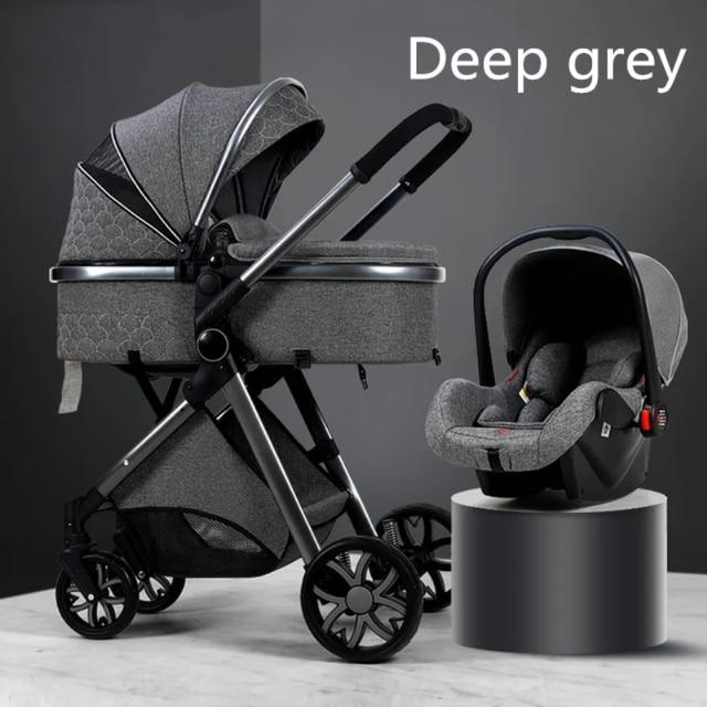 Multi-funcional 3 em 1 carrinho de bebê alta paisagem pode sentar reclinável luz dobrável dois-way eggshell design carrinho de bebe 5