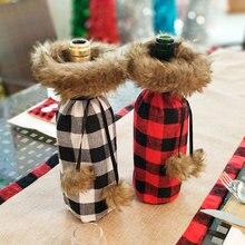العام الجديد 2020 عيد الميلاد زجاجة نبيذ غطاء غبار هدية الكريسماس المائدة أكياس نويل عيد الميلاد زينة للمنزل عشاء ديكور للطاولات