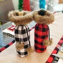 חדש שנה 2021 חג המולד יין בקבוק אבק כיסוי חג המולד מתנת כלי שולחן שקיות נואל חג המולד קישוטים לבית ארוחת ערב שולחן דקור