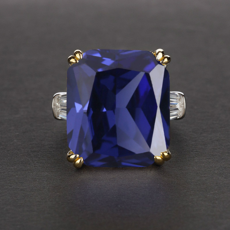 S925 Sterling Silver Ring Simple Style 14*16 Square Zircon Sapphire Ruby Ring Gemstone Fine Jewelry