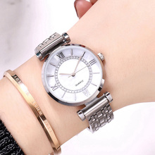 Women Silver Watch For Women Stainless Steel Quartz Wristwatches Fashion Round Dial Ladies Dress Luxury Crystal Waterproof Clock new women s fashion luxury bracelet watch quartz golden clock rectangle case crystal dial steel chain strap dress wristwatches