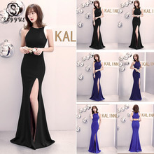 Skyyue Evening Dress Sleeveless Robe De Soiree Sexy Hollow Split Women Party Dresses 2019 Solid O-neck Gowns C080-DS3