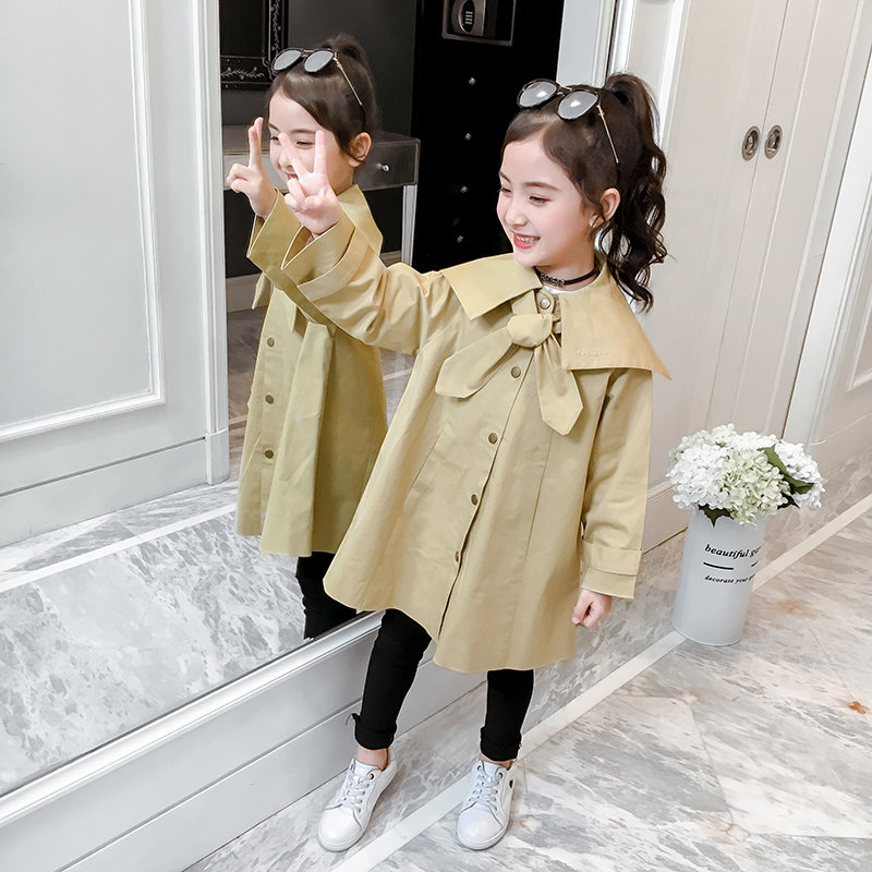 Kids Trench Coats for Girls Children New Fashion 2019 Korean Loose Jackets Khaki Windbreaker Teens Outerwear