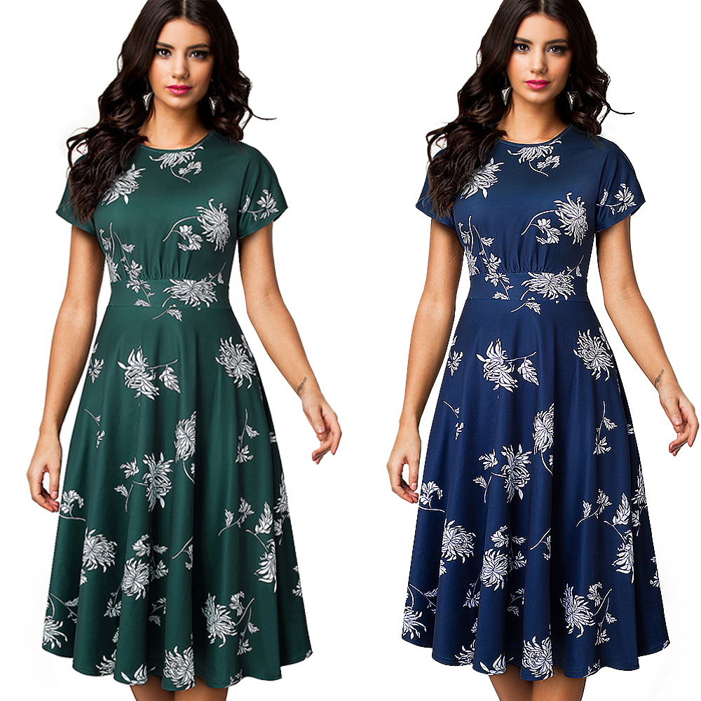 Women's Sleeveless Cocktail A-Line Embroidery Party Summer Wedding Guest Dress 6