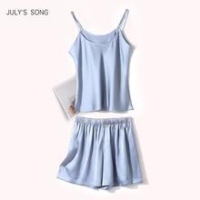 JULY'S SONG-Conjunto de pijama de verano de seda de imitación para mujer, pantalón corto, liso, Sexy, 2020