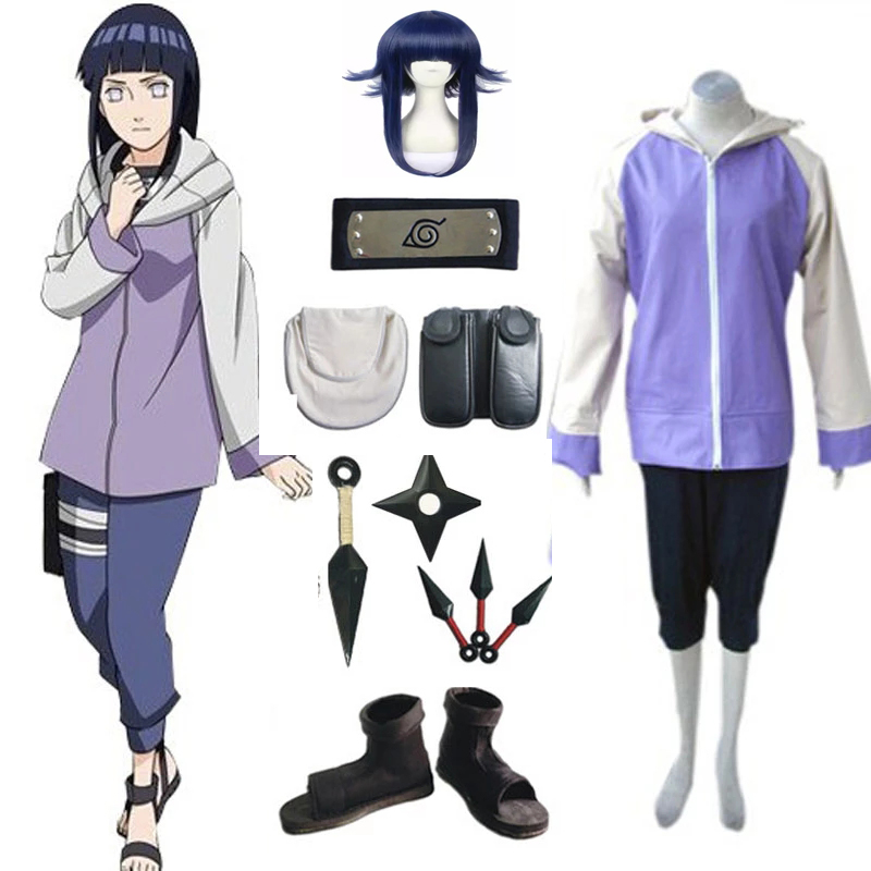 Japanese Anime  Shippuuden Hinata Hyuga Cotume Full Combo Set Cosplay Uniform Suit For Adult Women Girls Halloween Costume