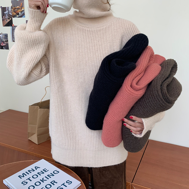 Ailegogo Women Turtleneck Knitted Pullovers Winter Casual Female Solid Color Loose Sweater Korean Style Ladies Knitwear Tops 2