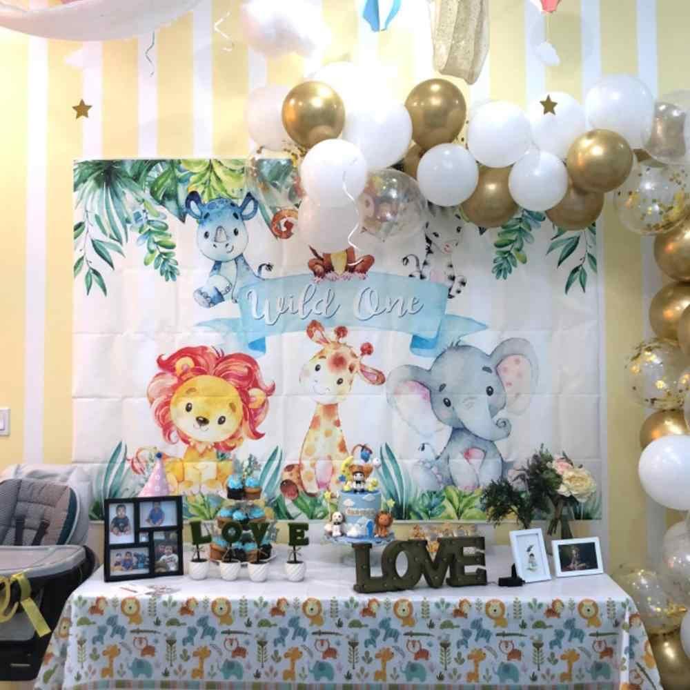 Safari vahşi bir zemin orman hayvanat bahçesi 1st doğum günü arka plan Safari hayvanlar ilk doğum günü partisi afiş dekorasyon arka planında