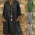 ZOGAA большого размера плюс лучшие продажи 2020 Женские однотонные сапоги в стиле «Бохо отложной воротник платье 3/4 с карманами на каждый день; Д...