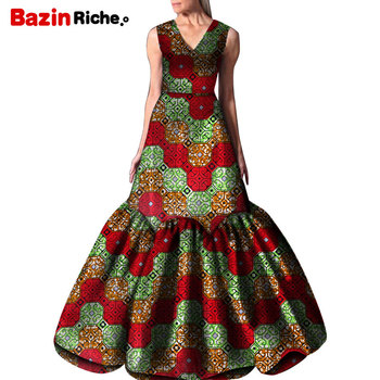 2020 New african dresses for women Clothes Patterns Ankara Dashiki African Print Floor-length Long Party Dress Plus Size WY5269