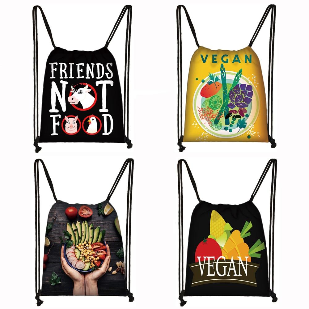 Cute Vegan Drawstring Bag Vegetarianism Women Fashion Storage Bags Teenager Girls Canvas Backpack Party Shopping Bag