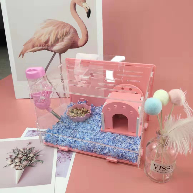Pink Hamster House Acrylic Pet Toy Single Layer Small Cage Hamster Accessories 23X18X16CM
