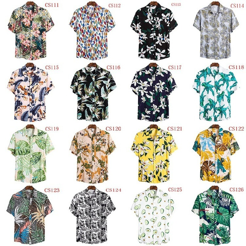 FFXZSJ New Men's Summer Shirt 2020, Hawaiian Shirt Casual Beach Shirt European Plus-size Lapel Short-sleeved Shirt