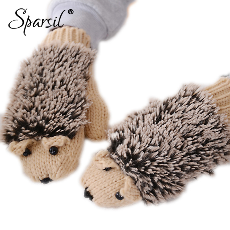 Sparsil Women Winter Cartoon Glove Hedgehog Wrist Knit Mittens Warm Thick Gloves Female Cute All-Fingers Heated Villus Gloves