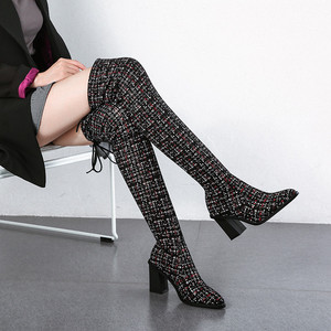 Image 5 - Женские сапоги выше колена MORAZORA, Черные Сапоги выше колена с острым носком, на высоком каблуке, осенне зимний сезон 2020
