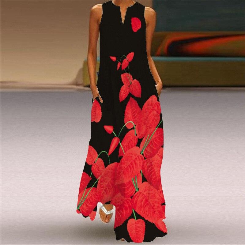 New Fashion Print Summer Dress Casual  Sexy Boho Beach Dresses Women Party Dress V-neck Sleeveless Pocket Plus Size Long Dress 3