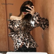 Whitney Wang Blouses 2020 Lente Mode Streetwear Korea Stijl Sexy Slash Hals Luipaard Blouse Vrouwen Blusas Dame Shirt Top(China)