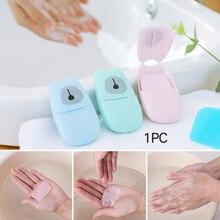 50/20 piezas desechables Mini jabón de viaje papel lavado mano limpieza de baños jabón en caja portátil papel perfumado hojas TSLM2