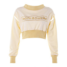 Fashion Letter Women Streetwear T shirt Embroidery Crop Top Lady O Neck Long Sleeve Female Tee Shirt Cute Chic Sleeve Femme Top chic round neck broken hole printed women s crop top