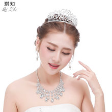 Fashion Elegant Korean Style Wedding Dress Hair Ornaments Set Crown Necklace Earrings Accessories Man-made Diamond(China)