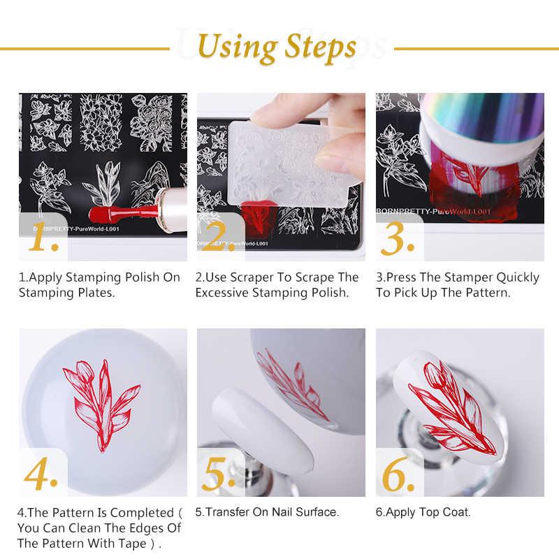 Nascido bonito retângulo placas de carimbo de unhas textura de mármore tinta modelo de aço inoxidável arte do prego imagem textura diy ferramentas placa